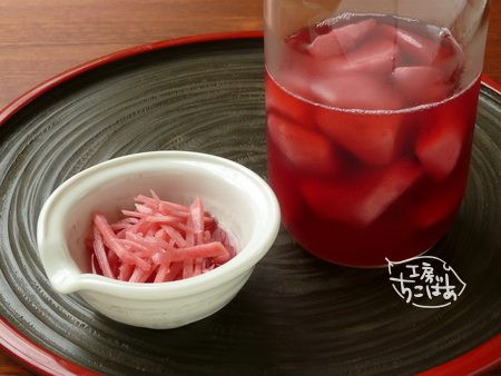 赤梅酢で漬けた紅ショウガ